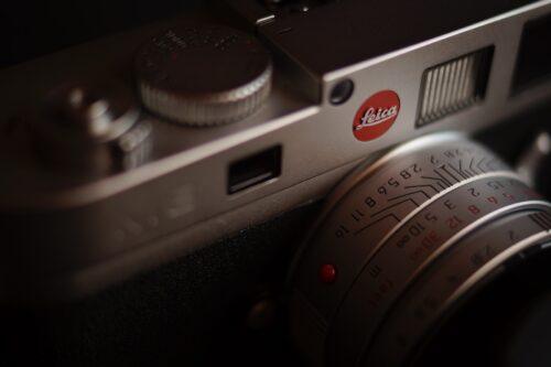silver DSLR camera
